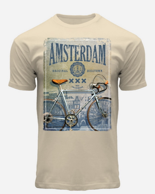 this is a Vintage BikeTown T-Shirt Beige